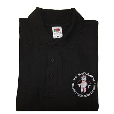 Black, folded polo shirt with Diving Museum logo