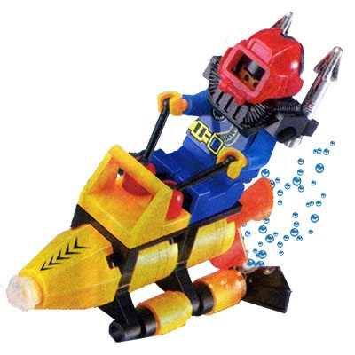 Lego figure sitting on a Lego-sized underwater propulsion vehicle